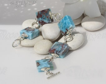 Larimarandsilver bracelet , On my way to the Volcano - red blue Larimar tiles, marbled stones, squares bracelet, handmade Larimar bracelet