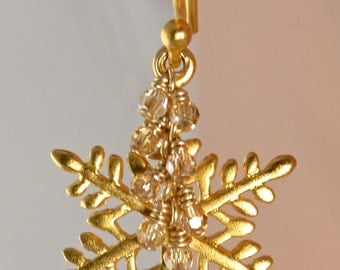 LP 1202  Vermeil Snowflake and Swarovski Crystal Earrings