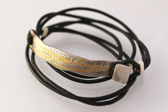 Multi wrap leather silver and gold bracelet, men's or women's bracelet, unique leather bracelet