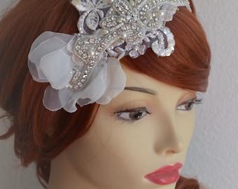 Bridal Lace Rhinestone beaded headband,Lace Ivory petal headband,1920s headpiece,rhinestone headband,boho headband,art deco
