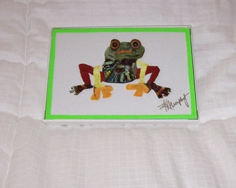 "Real Butterfly Wings Framed "" Whimsical Frog""  Collage"