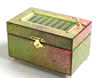 Jewelry Box Decoupaged Decorated Keepsake Box Street Map Trinket Box Green Pink Mothers Day Gift for Mom Gift for Her Potpourri Holder