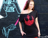 STAR WARS Women's Off the Shoulder Flashdance Tunic Length Slouchy Tshirt - Echo Base Hoth