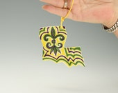 Louisiana State Ornament Hand Painted Mardi Gras Fleur De Lis New Orleans Holiday