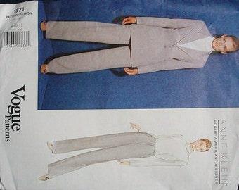 Anne Klein Vogue American Designer Back Belt Pants Jacket Business Office Career Vogue 1871  Uncut FF Sizes 8 10 12 Women's Sewing Pattern