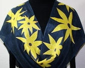 Blue Handmade Silk Scarf. Navy Blue, Yellow Hand Painted Silk Scarf GOLD FLOWERS. Size 11x60. Birthday Girl, Bridesmaid Gift. Gift-Wrapped