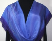Lavender Silk Scarf. Hand Painted Scarf. Periwinkle Handmade Shawl LAVENDER STREAM.  Birthday Gift. Gift-Wrapped. Offered in Several SIZES