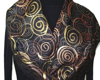 Black Silk Scarf Golden Winds. Hand Painted Silk Scarf in Black, Golden and Bronze. Silk Scarves Colorado.  Offered in Two SIZES.