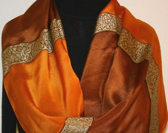 Silk Scarf, Hand Painted Silk Shawl, Golden Terracotta Brown Hand Dyed Silk Scarf ANTIQUE GOLD, Large14x72, Bridesmaid Gift, Free Gift-Wrap