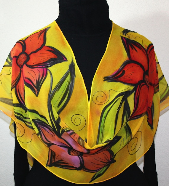 Silk Scarf Handpainted. Yellow, Red Hand Painted Shawl. Handmade Silk Wrap BLUSHING FLOWERS. Large 14x72 Birthday, Mother Gift. Gift-Wrapped