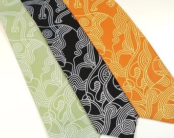 Abstract Curves Necktie - Modern Art Tie