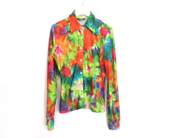 90's Tie Dye Photographic  Button Down Shirt size - S/M