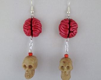 Halloween Skull and Brain Earrings