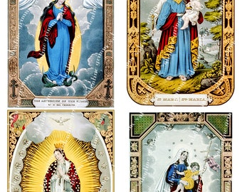 3x5 inch VIRGIN MARY Prayer Cards Digital Printable collage sheet for Tags Cards Paper Crafts Framing Transfer Art...St. Mary Blessed Mother