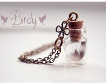 Tiny Feather Bottle Necklace, Glass vial necklace, cute tiny bottle necklace, real feather necklace, vial pendant, coworker gift for women