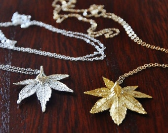 Maple Leaf Necklace - Silver Necklace/Real Leaf Necklace