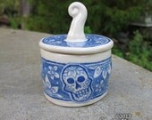 Sugar Skull Lidded Jar - ceramic, dia de los muertos, day of the dead