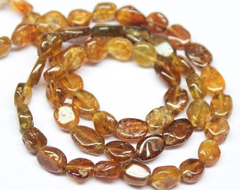Natural Hessonite Garnet Smooth Oval Beads, 5-7mm, 14 inches, SKU6180R