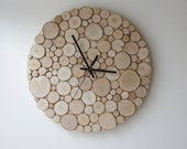 natural white birch forest wood clock (Large) - heat and initials, modern rustic wall clock, wood slices wall art, tree branch wall hanging