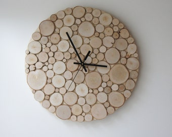 "natural white birch forest wood clock (Large) - 14"", heat and initials, modern rustic wall clock, wood slices wall art, wall hanging"