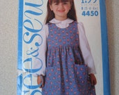Children's Jumper and Blouse Pattern B5-6-6X Butterick B4450  See and Sew