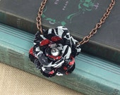 Coke Zero Rose Necklace.  Recycled Soda Can Art.   Embossed.