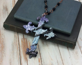 Trendy Long  Necklace - GOTHIC CROSS.  LP Vinyl Records - Recycled.