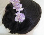 Hair Pins  x 5.Lilac/Cream Paper Roses. Bridal, Regency, Victorian.