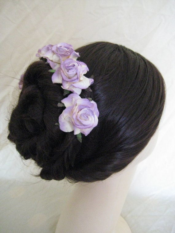 Hairpins x 5.Lilac/Cream Paper Roses. Bridal, Regency, Victorian.