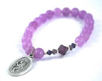 SAINT Christopher bracelet Purple Jade + purple crystal bracelet St Christopher saint bracelet Safe Travel Catholic jewelry Rosary gift