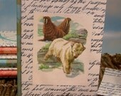 Slipcovered Polar Bear & Walrus Writing Journal with Vintage Calligraphic Storybook Art Cover
