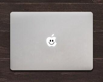 The Happy Apple, Smiley Face Vinyl MacBook Decal BAS-0185