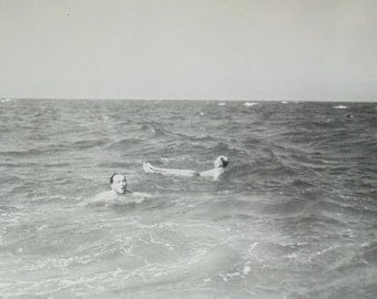 Vintage Photograph - Two Men Swimming in the Sea