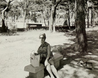 Vintage Summer Photo - Woman Sat in the Shade
