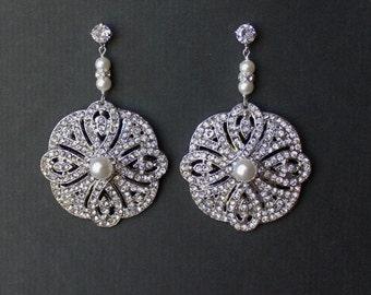Art Deco Style Bridal Earrings,  Vintage Style Wedding Chandelier Earrings, Old Hollywood Bridal Jewelry, VERONICA