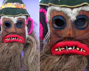 Weird Halloween Costume Wooden Troll Mask - Oddities Handmade Theater Scandinavian Monster Textile Art Beard Decor Unique OOAK Haunted Wood