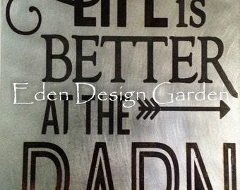 "Life is better at the BARN 8""x12"" etched metal sign in rust, brown, and black"