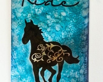 Ride filigree horse etched metal sign in blue and brown