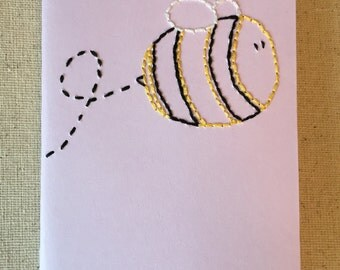 Hand Embroidered Moleskine Notebook - Bumble Bee