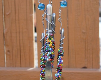 Silverware Wind Chimes with Transparent Blue Marbles, Bead Wrapped Silverware 4AJ2G