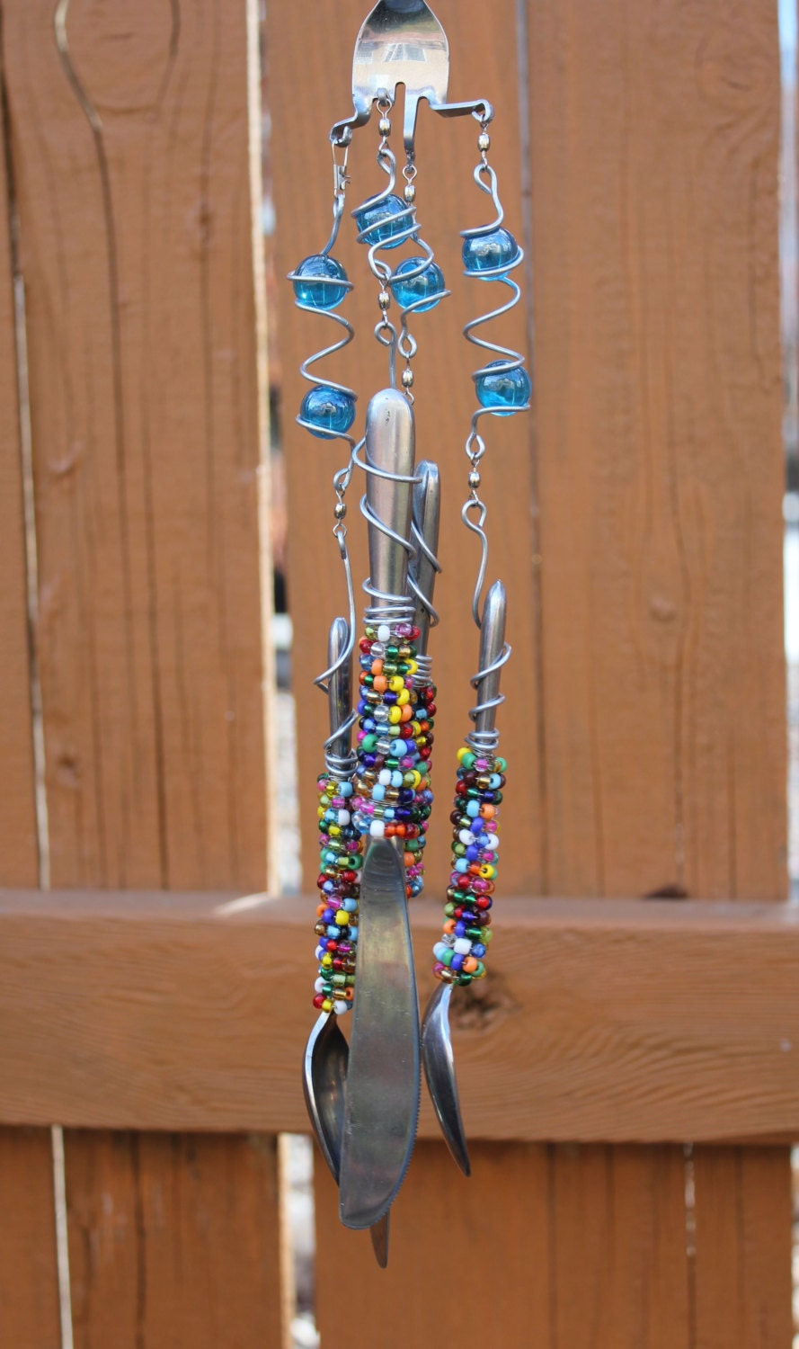 Silverware wind chimes with transparent blue marbles bead for Wind chimes out of silverware