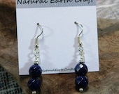Faceted navy blue lapis earrings semiprecious stone jewelry packaged in a colorful gift bag 2255 B