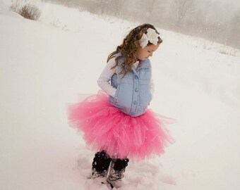 Pink Tutu  - SEWN tutu - hot pink tutu -  pink tutu - light pink - flower girl tutu - flowergirl tutu - photo prop tutu - child tutu - snow