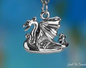 Sterling Silver Viking Ship Charm Dragon Norse Scandinavian Solid .925