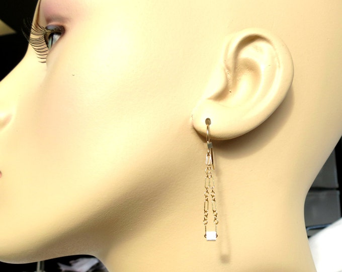 Long Gold Earrings, Chain Earrings, Silver Ice Cube, Dangle Earrings, Minimalist Earrings,Gold Filled, Gift for Her, Modern Jewelry