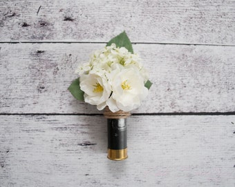 Shotgun Shell Wedding Boutonniere with Ivory Peonies and Hydrangeas