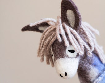 Felt Donkey - Chantal. Art Toy. Marionette Puppet Felted Stuffed plush soft toy Handmade nursery decor for kids. grey, pale pink, blue