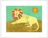 Lounging Lion Art Print