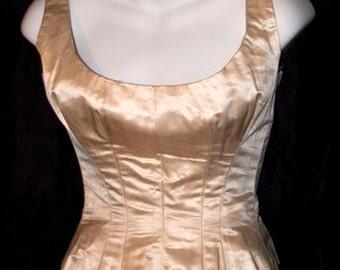 Sleeveless Ivory Silk Boned Corset Ballgown Bodice, 1880s