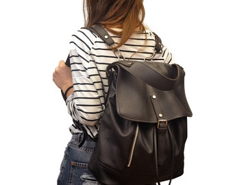 Leather backpack, shoulder bag ,named Vespa made in Dark brown color MADE TO ORDER